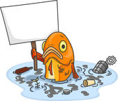 Sad Fish in Polluted Water With Blank Board — Stock Photo