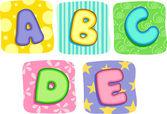 Quilt Alphabet Letters A B C D E — Stock Photo