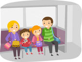 Stickman Family Travelling by Train — Stock Photo