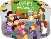 Stickman Kids School Halloween Party — ストック写真