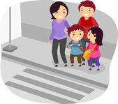 Stickman Family Crossing a Street — Stock Photo