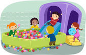 Stickman Kids Playing in an Inflatable Ball Pit — Stock Photo