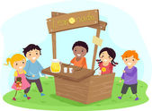 Stickman Kids on a Lemonade Stand — Stock Photo