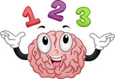 Brain Mascot with Numbers 123 — Stock Photo