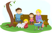 Stickman Family Bonding at the Park — Stock Photo