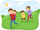 Stickman Family Running on the Hills — Stock Photo
