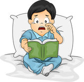 Asian Boy Crying Over a Story Book — Foto Stock
