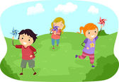 Stickman Kids Playing with Pinwheels in a Field — Stock Photo