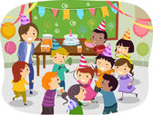 Stickman Kids School Birthday Party — ストック写真