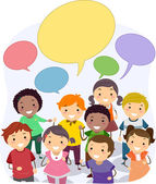 Stickman Kids with Blank Speech Bubbles — Stock Photo