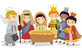 Stickman Kids in Nativity School Play — Stock Photo