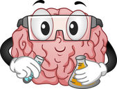 Brain Mascot doing Chemistry Experiment — Stock Photo