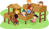 Stickman Kids Playing in the Park — Stock Photo