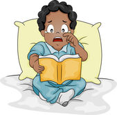 African-American By Crying Over a Story Book — Zdjęcie stockowe