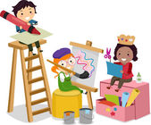 Stickman Kids making Arts and Crafts — Stok fotoğraf