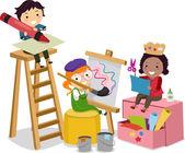 çöp adam çocuklar el sanatları yapma — Stok fotoğraf