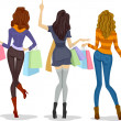 Stock Photo: Back View Female Shoppers
