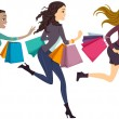 Stock Photo: Female Shoppers Running