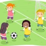 Stickman Girls Soccer — Stock Photo #39461965