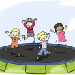 Doodle Kids Trampoline — Stock Photo