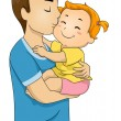 Father and Baby Kiss — Stock Photo