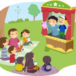 Stock Photo: Stickman Family Puppet Show