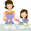 Mom and Daughter Washing Dishes — Stock Photo #39464921