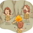 Stock Photo: Caveman Family Dance