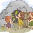 Caveman Family Art — Stock Photo