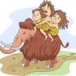 Caveman Family Ride — Stock Photo