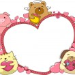 Stock Photo: Valentines Animal Banner