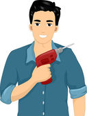 Man Holding a Drill — Stock Photo