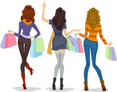 Back View Female Shoppers — Stock Photo