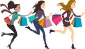 Female Shoppers Running — Stock Photo