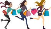 Female Shoppers Running — Stock Photo