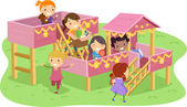 Stickman Girls Playhouse — Stock Photo
