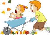 Wheelbarrow Autumn — Stock Photo