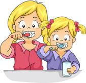 Toothbrush Siblings — Stock Photo