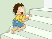 Stairs Crawling Boy — Stock Photo