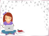 Laptop Girl Background — Stock Photo