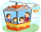Stickman Family Cable Car — Stock Photo