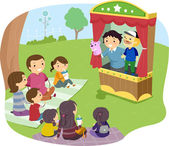 Stickman Family Puppet Show — Stock Photo
