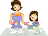 Mom and Daughter Washing Dishes — Stock Photo