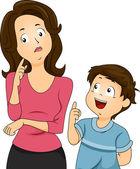 Mom and Son Questions — Stock Photo