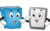 Book and Tablet Mascot — Stock Photo