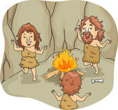 Caveman Family Dance — Stock Photo