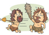 Caveman Food Fight — Stock Photo