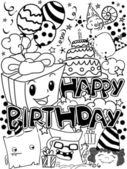 Black And White Happy Birthday Party Doodles — Stock Photo