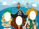 Photobooth Pirate Faces — Stock Photo