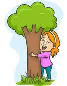 Girl Hugging Tree — Stock Photo